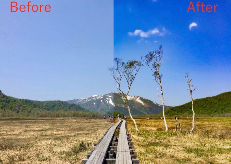 AdobeLightroom(アドビ ライトルーム)アプリでかすみを除去した尾瀬ヶ原の風景写真