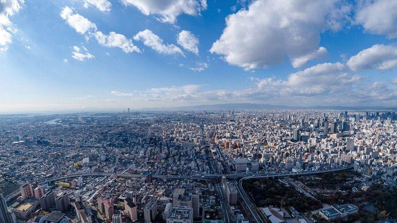 あべのハルカス展望台から見た大阪の街並み
